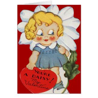 Chica retro del vintage con la tarjeta de la tarje