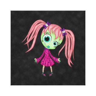 Chica retro del zombi de la diversión impresión de lienzo