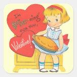Chica retro lindo de la tarjeta del día de San Calcomanías Cuadradas