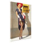 Chica retro Pin-Para arriba Lienzo Envuelto Para Galerías