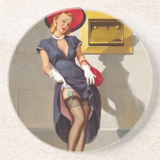 Chica retro Pin-Para arriba Posavasos Manualidades