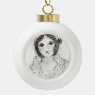 Chica rizado de la aleta adorno de cerámica en forma de bola