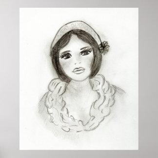Chica rizado de la aleta poster
