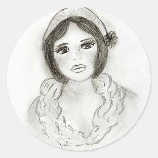 Chica rizado de la aleta pegatina redonda