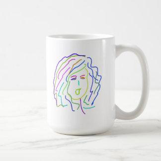 Chica rizado taza básica blanca