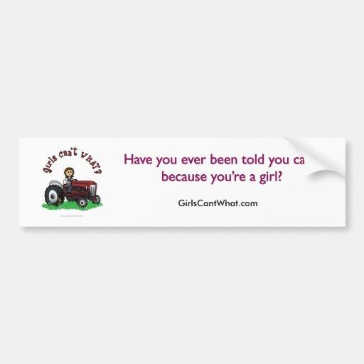 Chica rojo claro del granjero etiqueta de parachoque