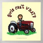 Chica rojo claro del granjero impresiones