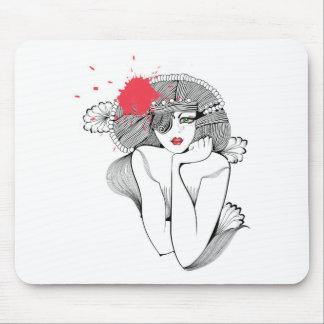 Chica rojo del chapoteo alfombrillas de raton