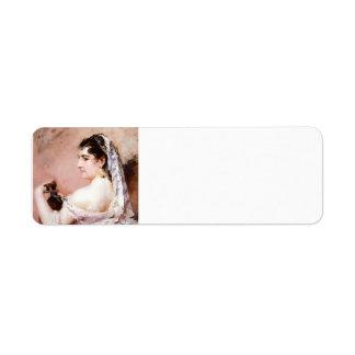 Chica romano de Mary Cassatt Etiqueta De Remite