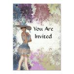 Chica romántico color de rosa inglés invitación 12,7 x 17,8 cm