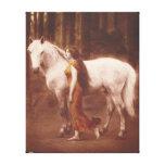 Chica romántico del Victorian con el caballo blanc Lona Estirada Galerias