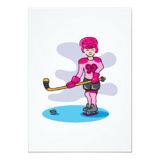"""Chica rosado 99 del hockey invitación 5"""" x 7"""""""