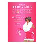 """Chica rosado atractivo afroamericano de la moda invitación 5"""" x 7"""""""