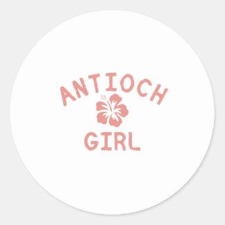 Chica rosado de Antioch Pegatina Redonda