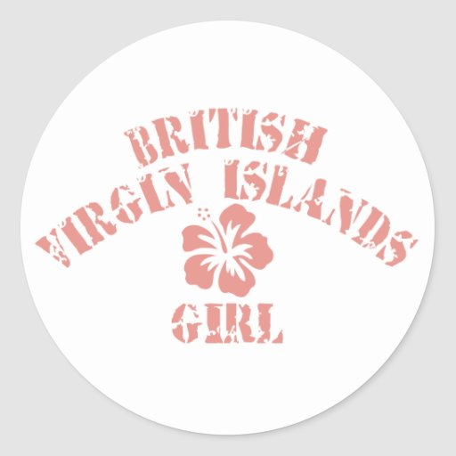 Chica rosado de British Virgin Islands Etiqueta Redonda
