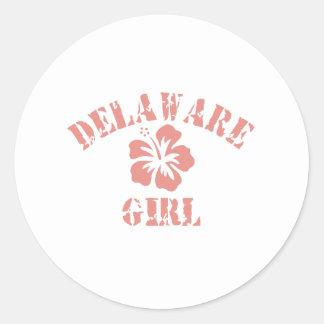 Chica rosado de Delaware Pegatinas Redondas