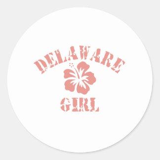 Chica rosado de Delaware Pegatina Redonda