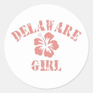 Chica rosado de Delaware Etiqueta Redonda