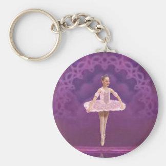 Chica rosado de la bailarina llavero redondo tipo pin