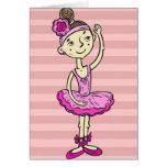 Chica rosado de la bailarina tarjetón