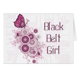 Chica rosado de la correa negra de la mariposa de tarjeta pequeña
