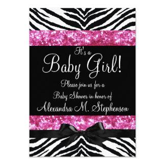 Chica rosado de la fiesta de bienvenida al bebé invitación