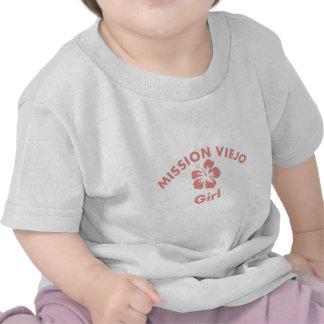 Chica rosado de la misión camisetas