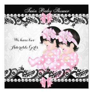 """Chica rosado de los chicas lindos gemelos de la invitación 5.25"""" x 5.25"""""""