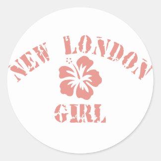 Chica rosado de Newark Etiquetas Redondas