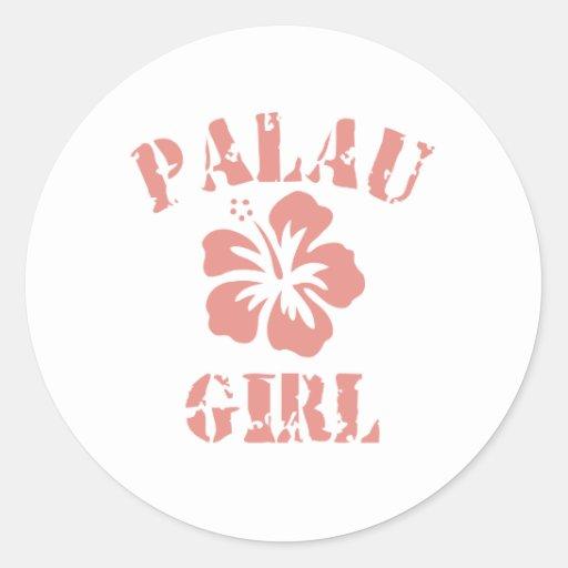 Chica rosado de Palau Etiquetas Redondas