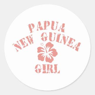 Chica rosado de Papúa Nueva Guinea Pegatina Redonda