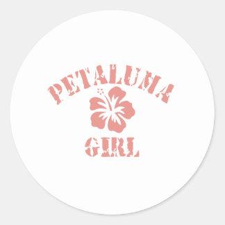 Chica rosado de Petaluma Pegatina Redonda