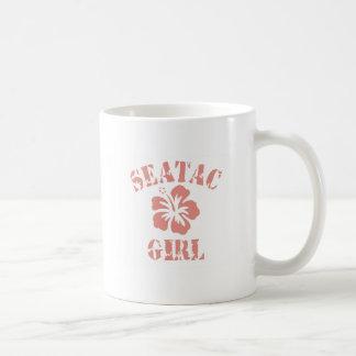 Chica rosado de Seatac Taza Básica Blanca