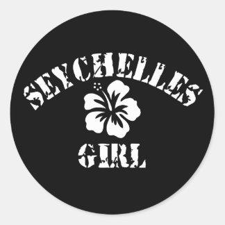 Chica rosado de Seychelles Pegatina Redonda