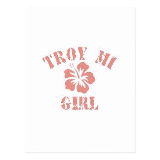 Chica rosado de Troy Postal
