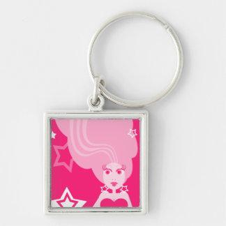 Chica rosado del arte pop con llavero de las estre