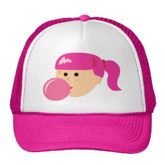 Chica rosado del chicle gorros