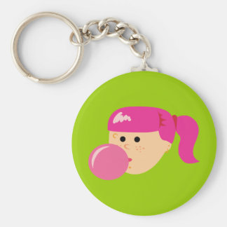 Chica rosado del chicle llavero redondo tipo pin