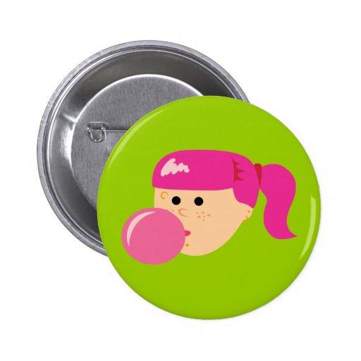 Chica rosado del chicle pin redondo de 2 pulgadas