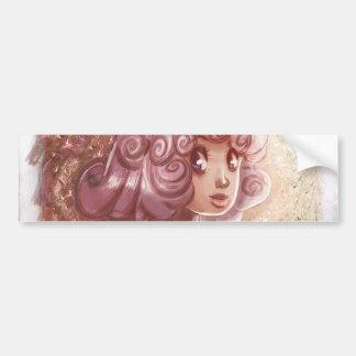 Chica rosado del collar del corazón del pelo etiqueta de parachoque