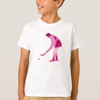 Chica rosado del hockey hierba camisas