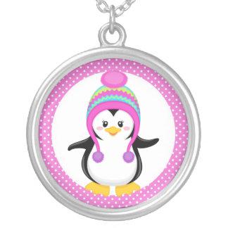 Chica rosado del pingüino del invierno del lunar colgante redondo