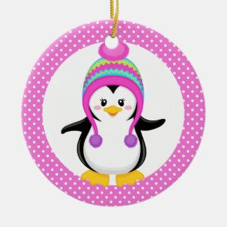 Chica rosado del pingüino del invierno del lunar ornamento de navidad