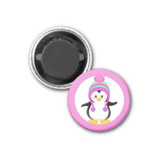 Chica rosado del pingüino del invierno del lunar imán para frigorifico