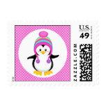 Chica rosado del pingüino del invierno del lunar sello