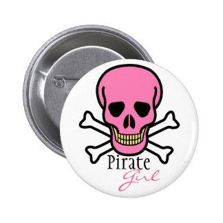 Chica rosado del pirata del cráneo pin redondo de 2 pulgadas