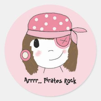 Chica rosado del pirata etiquetas redondas
