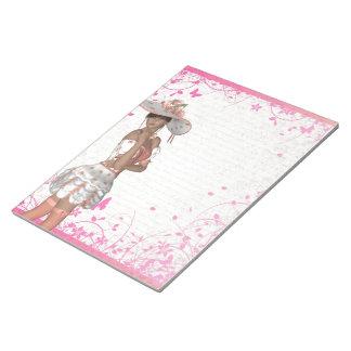 Chica rosado del verano bloc de papel