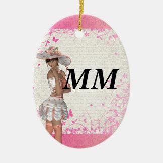 Chica rosado del verano adorno ovalado de cerámica