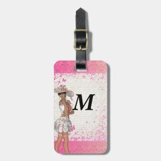 Chica rosado del verano etiquetas de maletas